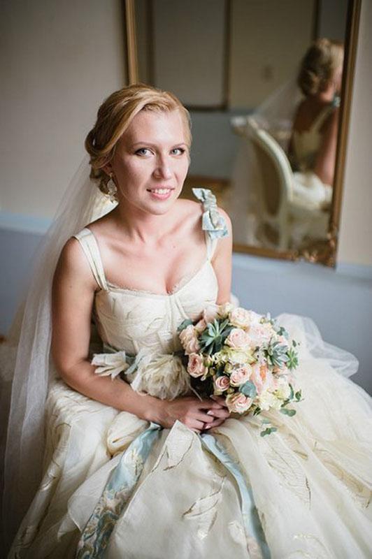 Нежный розовый букет невесты
