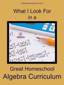 What I Look for in Algebra Curriculum