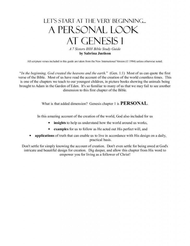 Excerpts from Genesis 1 Bible Study Guide