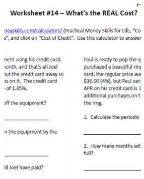 Free sample worksheet from 7sistershomeschool.com's high school financial literacy curriculum
