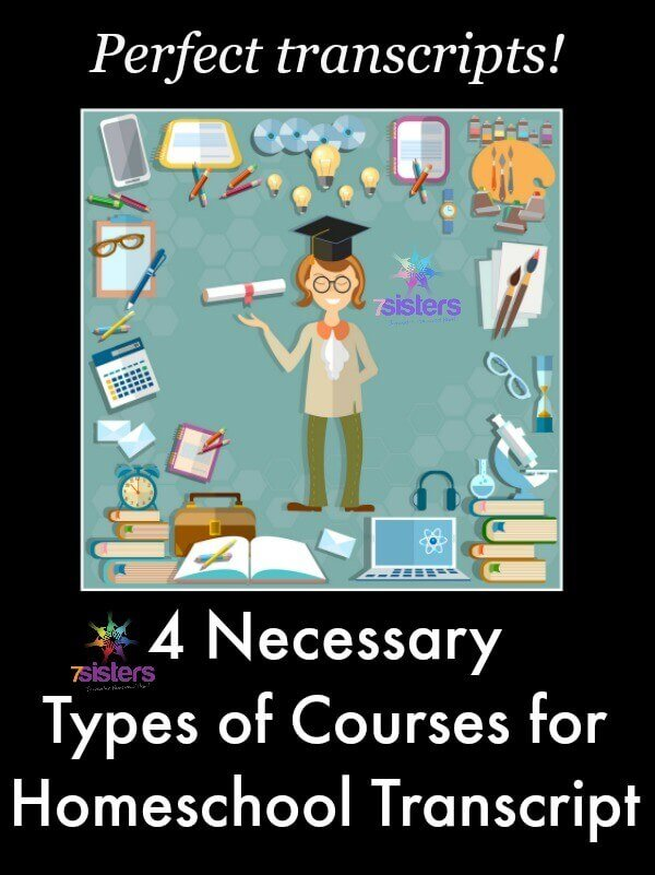 4 Necessary Types of Courses for Homeschool High School Transcripts. 7SistersHomeschool.com shares important courses for homeschooling teens.