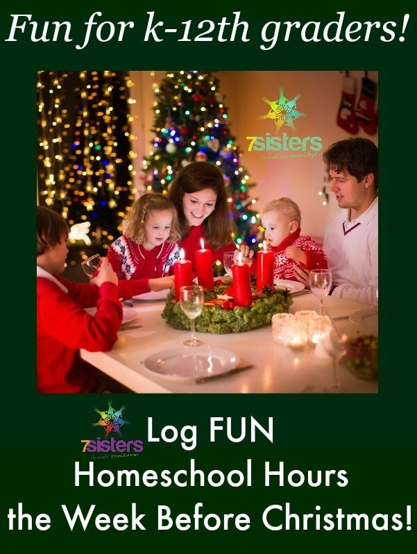 Log FUN Homeschool Hours During the Week Before Christmas with 7SistersHomeschool.com's Week Before Christmas activity bundle. Fun, affordable, logged educational hours.