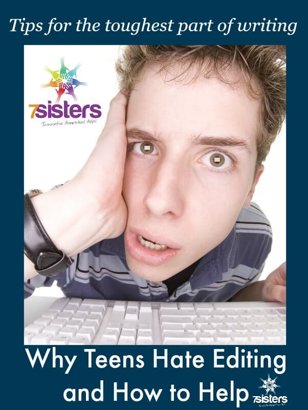Why Teens Hate Editing Papers and How to Help 7SistersHomeschool.com #HomeschoolEnglish #HomeschoolWriting #HomeschoolHighSchool #7SistersHomeschool This picture shows a frustrated teen at his computer.