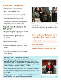 Sabrina Justison Speaker Media Kit page 2