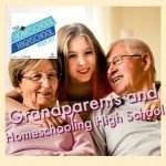 HSHSP Ep 126: Grandparents and Homeschooling High School #GrandparentsAndHomeschooling This photo shows a homeschool teen happily hugging her loving grandparents from behind a couch.
