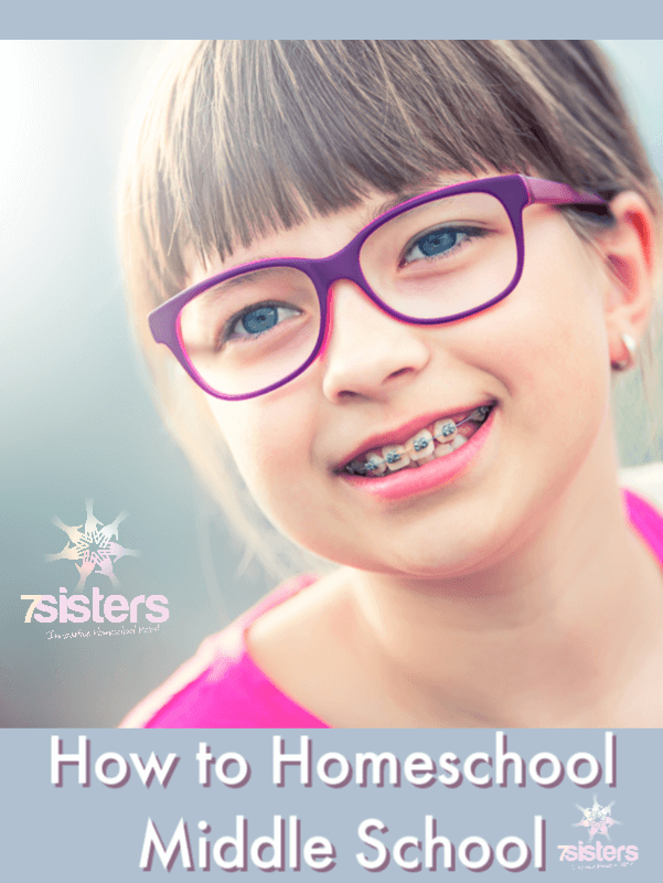 How to Homeschool Middle School. There's not ONE right way to homeschool middle school. Here are some ideas for each type of middle schooler. #7SistersHomeschool #HomeschoolMiddleSchool #HowToHomeschoolMiddleSchool #HomeschoolingTweens