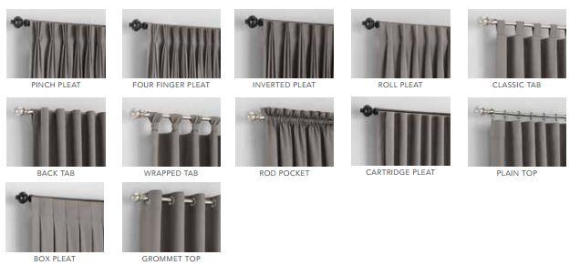 custom drapery curtain heading styles
