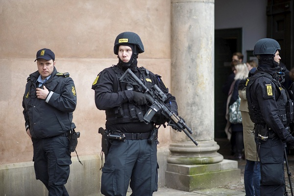 File photo shows Danish police standing guard in Copenhagen