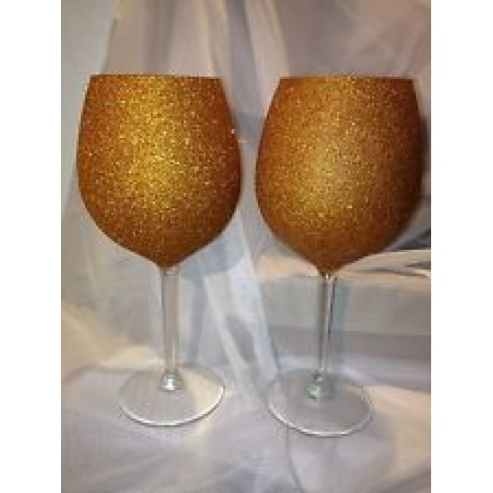 Gold Glitter Martini Glass And Wine Glass Set