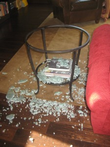 Jennifer Hellum's shattered table