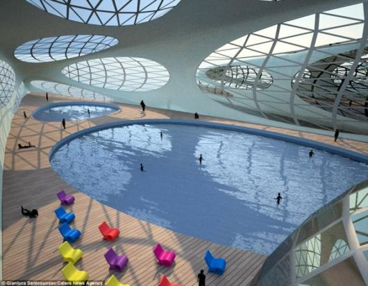 Amazing Spine Shaped Luxurious Floating Hotel Concept