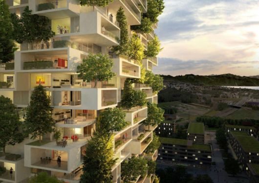 384ft Tall Apartment Covered In Evergreen Trees