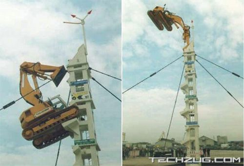 Hydraulic Excavator Climbing up the Tower
