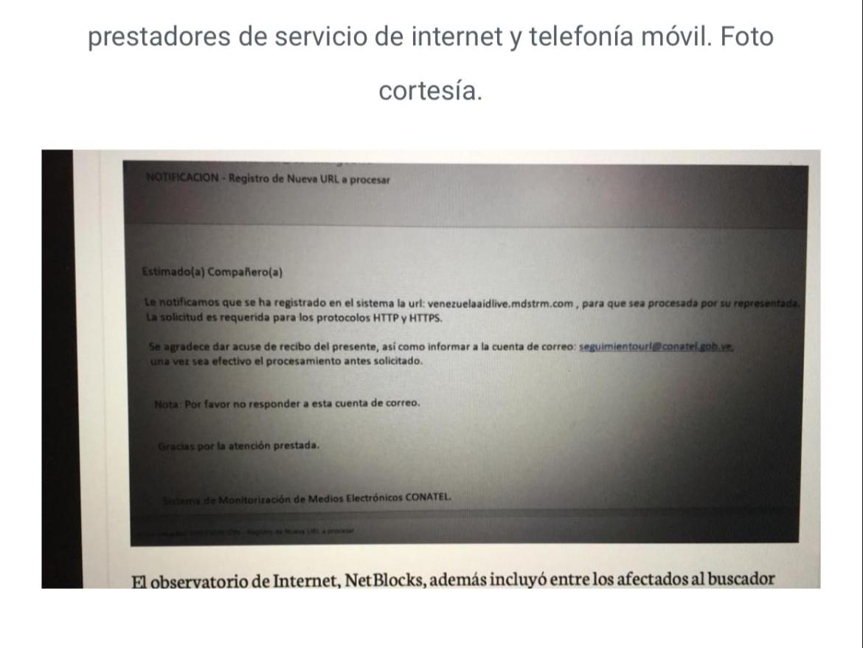 correos que envía Conatel a los prestadores de servicio de internet y telefonía móvil en Venezuela