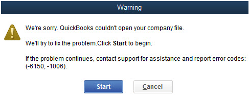 Quickbooks error 6150 screen shot