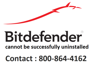 bitdefender cannot be successfully uninstalled