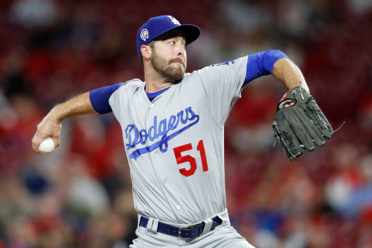 CINCINNATI, OH - SEPTEMBER 11: Dylan Floro #51 of the Los Angeles Dodgers pitches in the sixth inning of the game against the Cincinnati Reds at Great American Ball Park on September 11, 2018 in Cincinnati, Ohio. The Reds won 3-1. (Photo by Joe Robbins/Getty Images)
