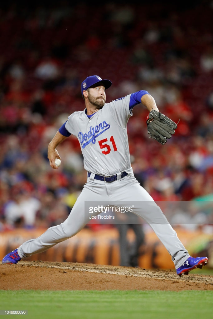 CINCINNATI, OH - SEPTEMBER 11: Dylan Floro #51 of the Los Angeles Dodgers pitches during the game against the Cincinnati Reds at Great American Ball Park on September 11, 2018 in Cincinnati, Ohio. The Reds won 3-1. (Photo by Joe Robbins/Getty Images)