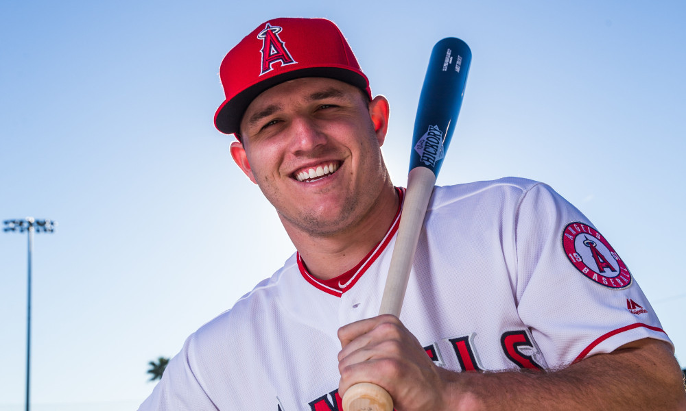 TEMPE, AZ - FEBRUARY 21:  Mike Trout of the Los Angeles Angels of Anaheim poses for a portrait during Angels Photo Day at Tempe Diablo Stadium on February 21, 2017 in Tempe, Arizona. (Photo by Rob Tringali/Getty Images) ORG XMIT: 695115747 ORIG FILE ID: 643486556