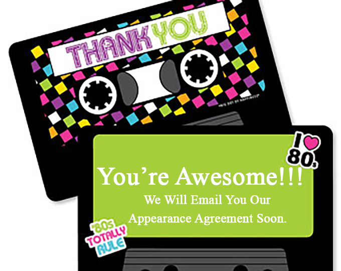 Thank you from The 80ators Awesome 80s band