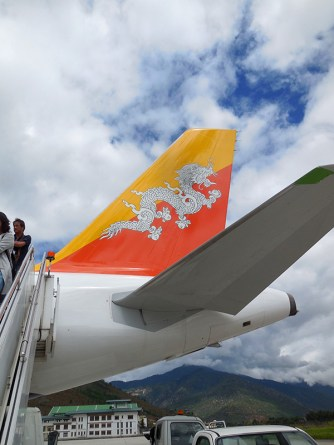 The tail of our Drukair plane