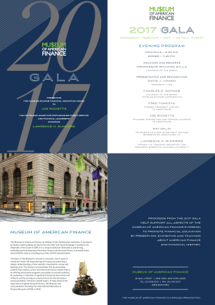 Gala Materials for Museum of American Finance