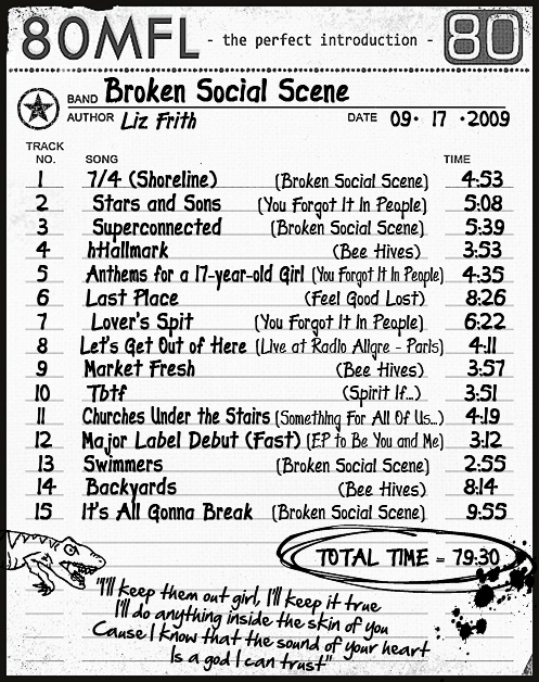 Click on the list for our Broken Social Scene iMix