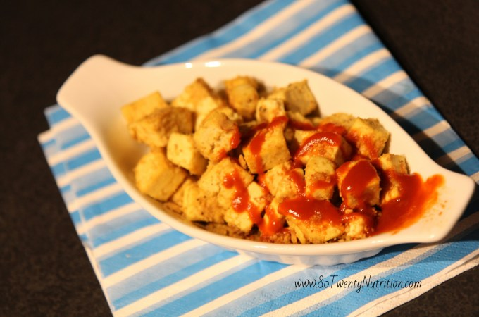 Finger Lickin' Tofu Nuggets with Sriracha - vegan, gluten-free, dairy-free, high in protein - Christy Brissette, media dietitian, 80 Twenty Nutrition
