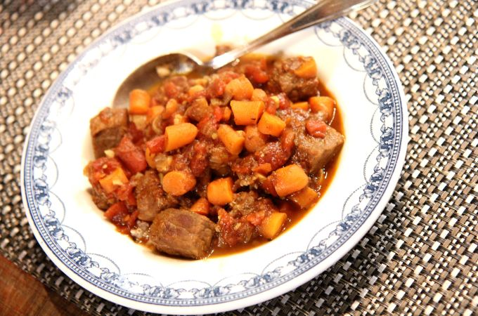 Jerk Beef Stew with Carrots and Tomatoes