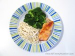 Dinner in 15 minutes - Salmon with Brown Rice Noodles and Broccoli - Christy Brissette media dietitian 80 Twenty Nutrition