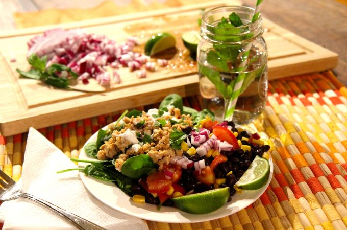 Healthy Taco salad with turkey, black beans and corn - tex mex recipe - gluten free, dairy free, slow carb - Christy Brissette media dietitian - 80 Twenty Nutrition