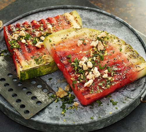 Grilled Watermelon Steaks with Walnut Gremolata