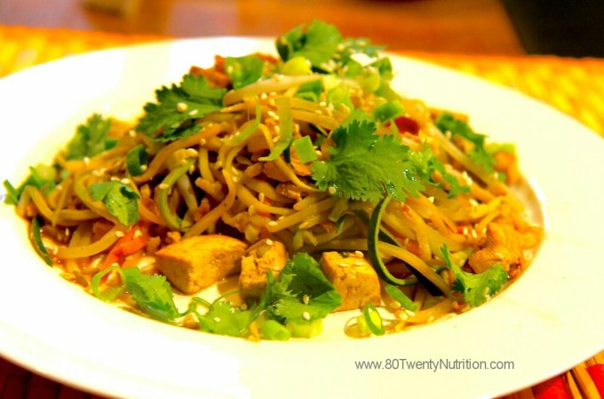 Pad Thai with Zoodles - vegan, low carb and gluten free - Christy Brissette media dietitian 80 Twenty Nutrition - Toronto and Los Angeles