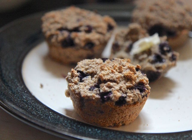 Blueberry Oat Bran Muffins: No Flour, Vegan, Low Carb and Gluten-Free!