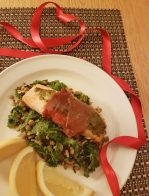 Pesto Prosciutto Salmon with Lentil and Almond Wild Rice - registered dietitian nutritionist Christy Brissette president of 80 Twenty Nutrition