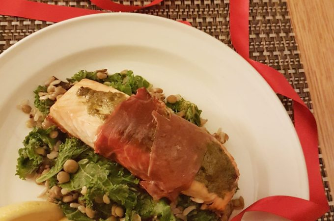 Pesto Prosciutto Salmon with Lentil and Almond Wild Rice