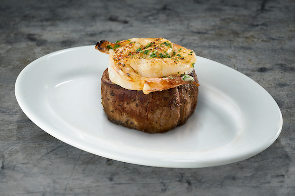 Ruth's Chris Steak House Lighter Recommendations Menu steak filet and shrimp - how to eat healthier and low calorie at a steakhouse - Christy Brissette media registered dietitian nutritionist 80 Twenty Nutrition