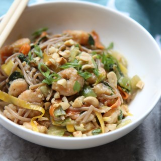 Shrimp and Soba Noodle Stirfry with Peanut Sauce - Gluten Free - recipe by Christy Brissettemedia dietitian nutritionist and president of 80 Twenty Nutrition in Chicago