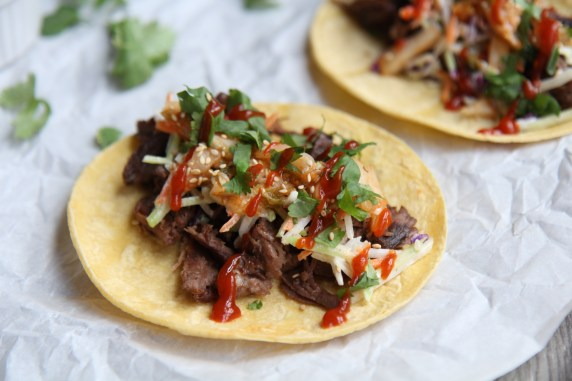 Instant Pot Korean Beef Tacos Bulgogi with Kimchi Sriracha Slaw - recipe by Christy Brissette media registered dietitian nutritionist President of 80 Twenty Nutrition in Chicago