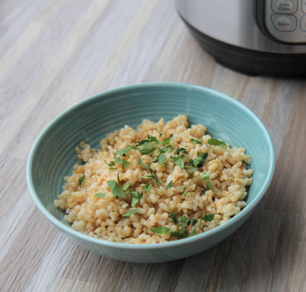 Instant Pot Brown Rice - perfect fluffy brown rice that cooks in 15 minutes - gluten free vegan - recipe by media registered dietitian nutritionist in Chicago Christy Brissette