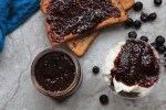Blueberry Chia Jam - no refined sugar, vegan - sweetened with maple syrup no pectin - recipe by media registered dietitian nutritionist Christy Brissette RD in Chicago 80 Twenty Nutrition