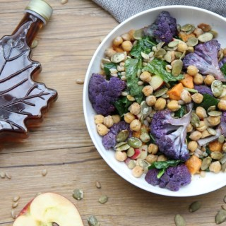 Maple Harvest Bowl with Farro and Roasted Chickpeas kale roasted cauliflower and pumpkin seeds with Maple Apple Vinaigrette - vegan plantbased no refined sugar - sweetened with maple syrup - recipe by media registered dietitian nutritionist Christy Brissette RD in Chicago 80 Twenty Nutrition