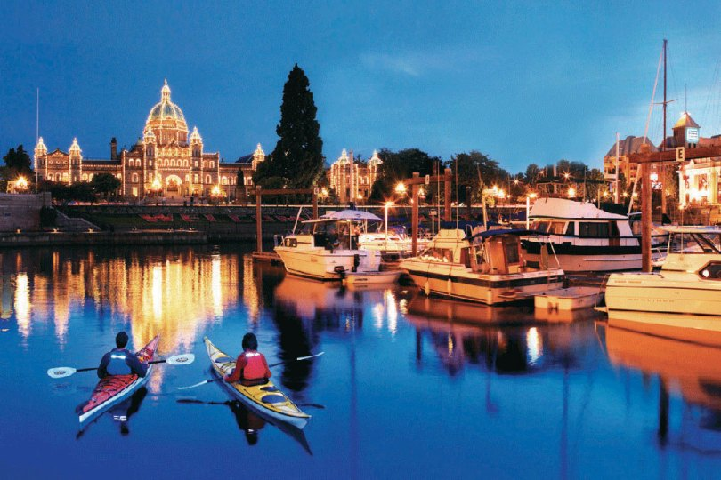 See The Parliament Buildings light up with thousands of lights from the waters of the Inner Harbour.