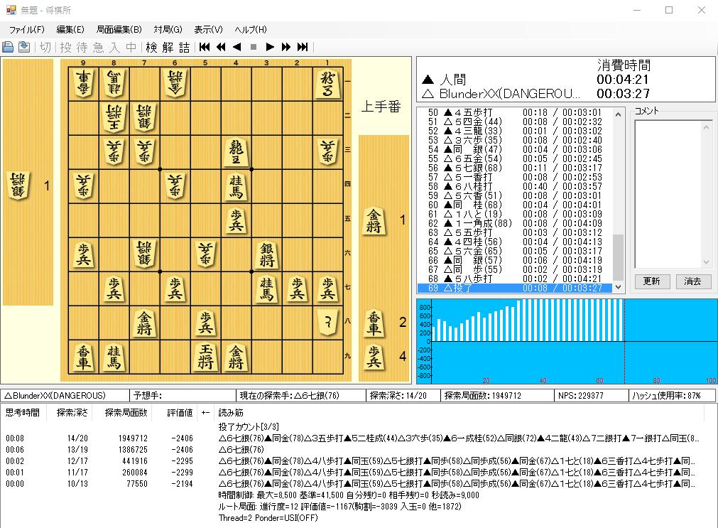 無料将棋ゲームソフトBlunderと対局