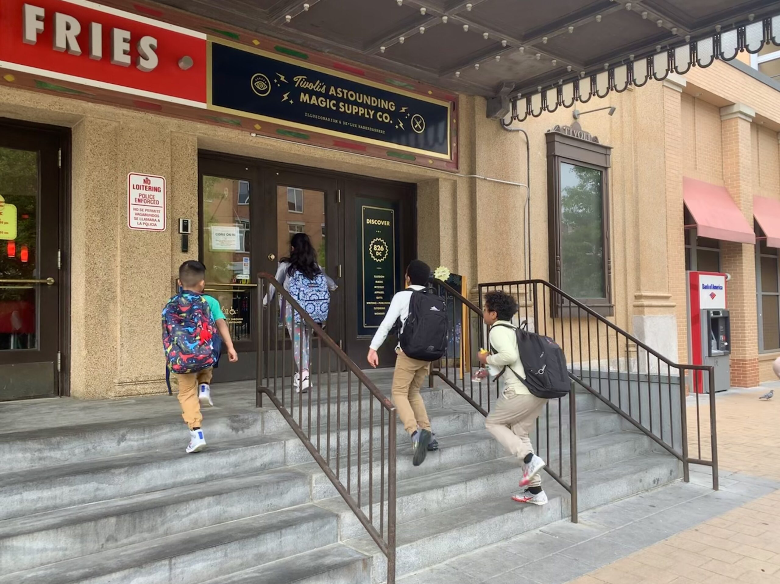 Students arrive at the 826DC writing center in Columbia Heights