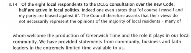 Greenwich Council response on Greenwich Time