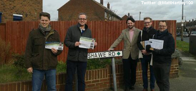 Essex boys: Alex Wilson, Matt Hartley, Thomas Turrell, Harry Methley and James Worron hit the campaign trail in Thurrock