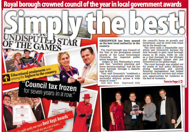 Mary Ney (bottom right photo, second from right) picking up Greenwich's Local Government Chronicle Council of the Year prize in 2013. In 2008, LGC awarded the children's services price to Rotherham