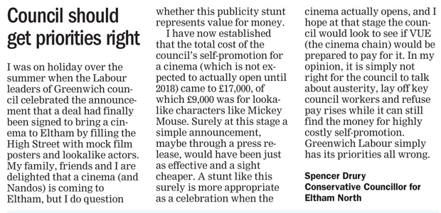 Spencer Drury's letter (Greenwich & Lewisham Mercury, 12 September 2016)