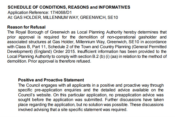 Gasholder refusal